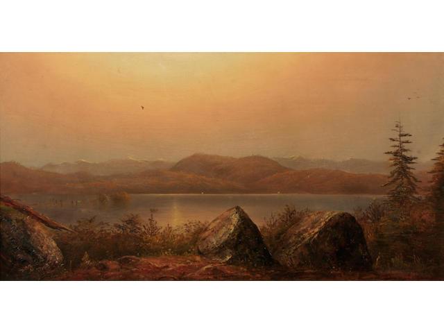 Norton Bush (American, 1834-1894) Landscape with lake 16 x 30in