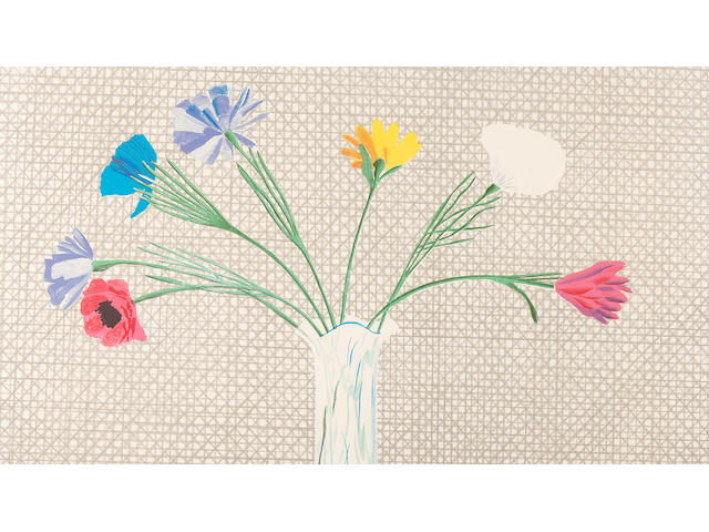 David Hockney (British, born 1937); Coloured flowers made of paper and ink;
