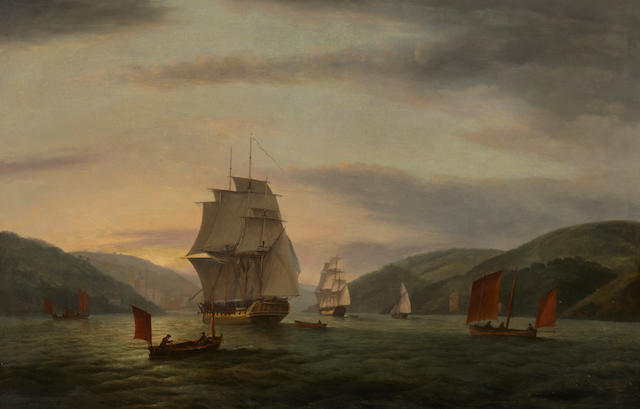 Thomas Luny (British, 1759-1837) A frigate lugger and merchant ship in Dartmouth harbor 34 x 51in (86.3 x 129.5cm)