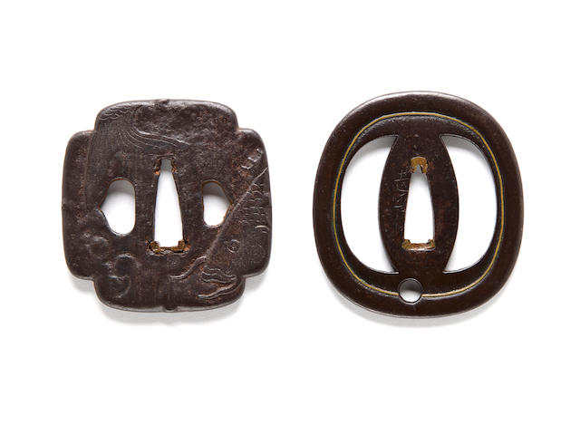 Jingo iron tsuba with brass inlay, signed Jingo saku; Jingo school iron tsuba with a carp