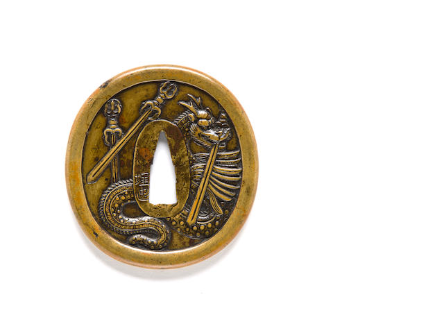 Umetada school Namban style tsuba with dragons, swords, flowers