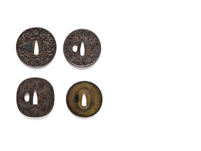 Hizen Canton iron tsuba with dragon design; Iron tsuba with birds in flush-inlaid silver; Iron Nanban tsuba with confronted dragon in silver; Copper tsuba with dragon