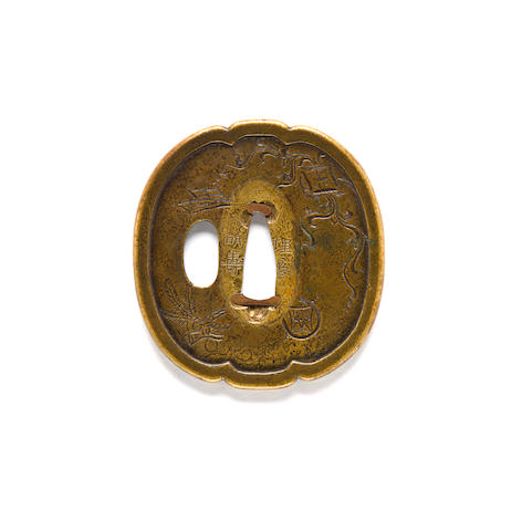 Brass tsuba with New Years Design, signed Umetada Myoju (if correct)