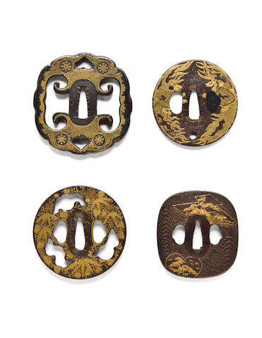 Four inlaid iron tsuba 18th/19th century