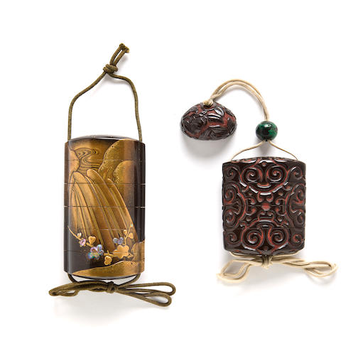 A lacquer four-case inro and a lacqeur three-case inro The first by Koma Kyuhaku; the second by the Yosei family, 19th century