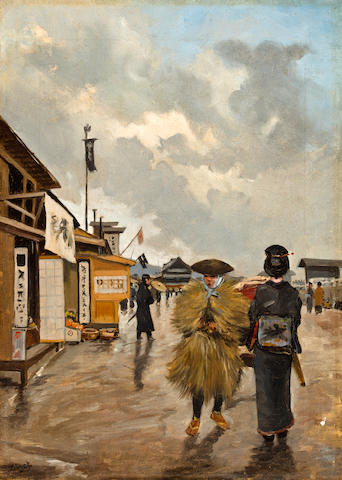 Georges Ferdinand Bigot (French, 1860-1927) Market day in Japan 15 x 10 5/8in