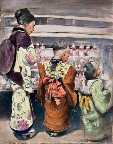 Mortimer Luddington Menpes, RI, RBA, RE (British, 1855-1938) At the sugar water stall 16 1/4 x 12 7/8in (41.2 x 32.7cm)