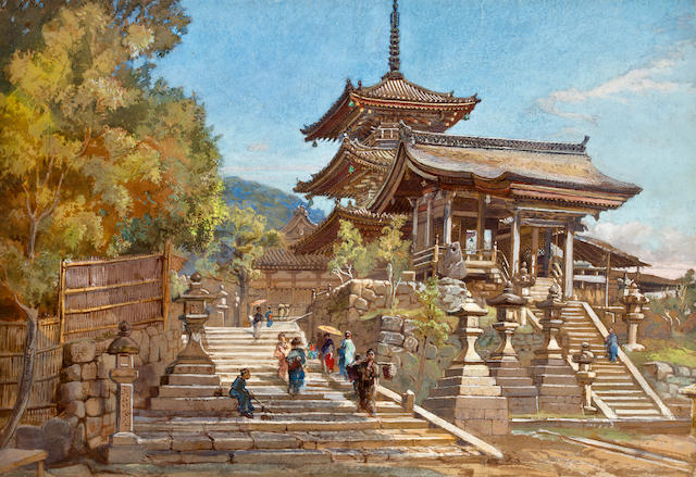 John Varley Jnr. (British, 1850-1933) Entrance to a temple; The Senjokaku Pavilion, Miyajima, Japan (a pair) each, sight: 14 x 20in (36.6 x 50.8cm)