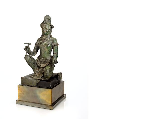 A copper alloy figure of Visvakarman  Thailand, 13th/14th Century
