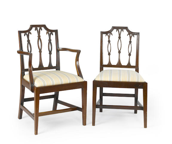 A set of eight George III mahogany dining chairs<BR />late 18th century