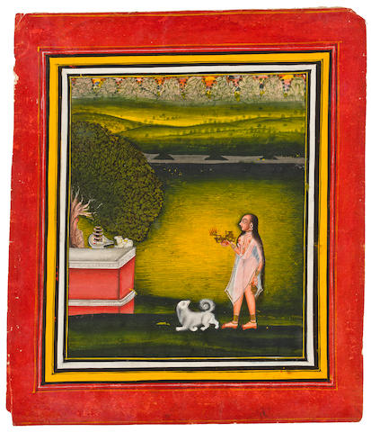 Female worshipper visits a shrine at night, attributed to Kavala; gouache on paper; Devgarh, India circa 1810-15