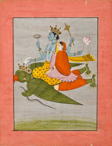 Vishnu and Lakshmi on Garuda Kangra, early 19th century