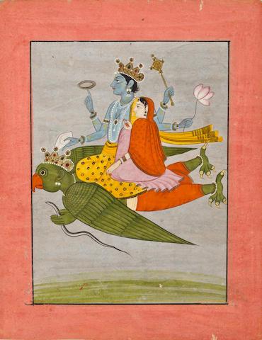 Vishnu and Lakshmi on Garuda Kangra, early 19th century
