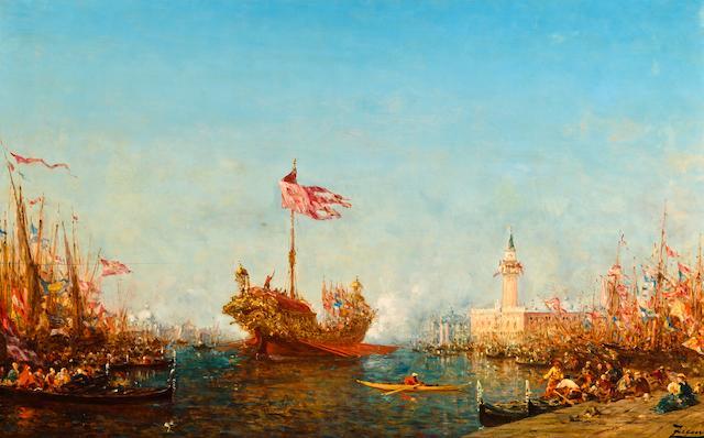 Félix François Georges Philibert Ziem (French, 1821-1911) Le Bucintaure, Venise 25 3/4 x 42 1/8in (65 x 107cm)