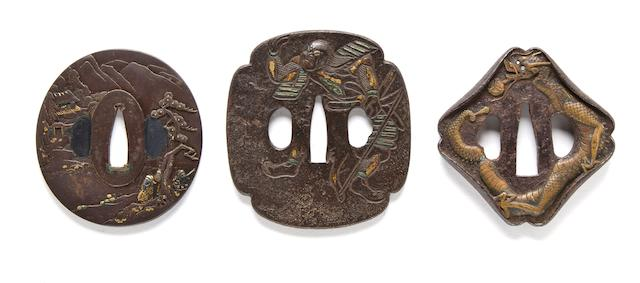 Nara school iron tsuba with figures and landscape; Iron mokko plate with a warrior and a boat in sunken relief; Iron trapezoidal tsuba with a dragon in brass inlays