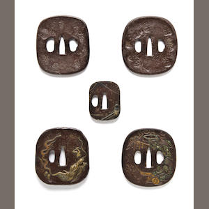 Five iron tsuba 18th-19th century