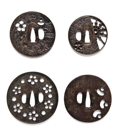 Four early iron sukashi tsuba 15th-16th century