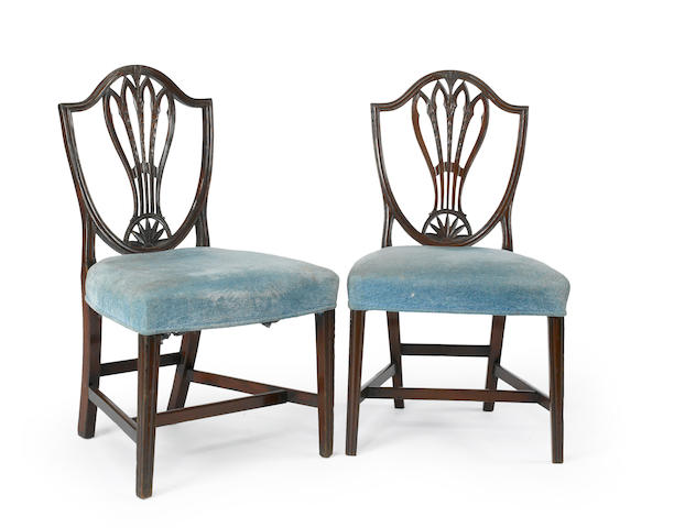 A set of four George III mahogany side chairs late 18th century