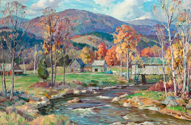 Aldro Thompson Hibbard (American, 1886-1972) Autumn landscape 24 x 36in