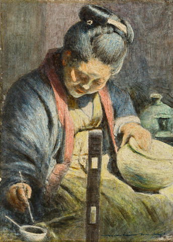 Mortimer Luddington Menpes (British, 1855-1938) A Japanese woman decorating a pot 6 x 4 1/4in (15.3 x 10.8cm)