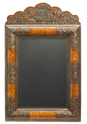 A William and Mary style gilt brass and burl wood cushion frame mirror