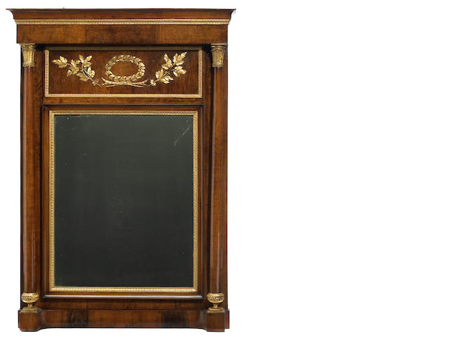 An Empire parcel gilt and mahogany pier mirror <BR />first quarter 19th century