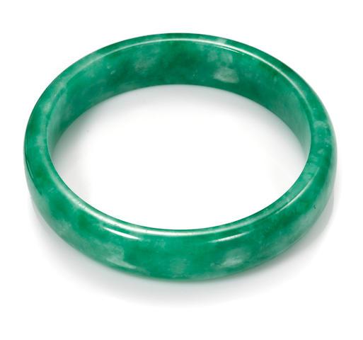 A jadeite jade large bangle bracelet