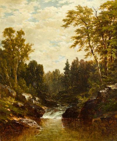 John William Casilear (American, 1811-1893) Cascade * ON INSPECTION *  12 x 10in
