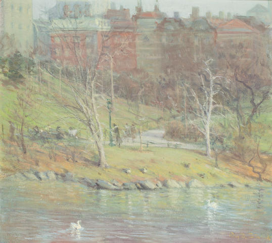 Ray Strong (American, 1905-2006) Misty Central Park 16 1/4 X 18 1/4in