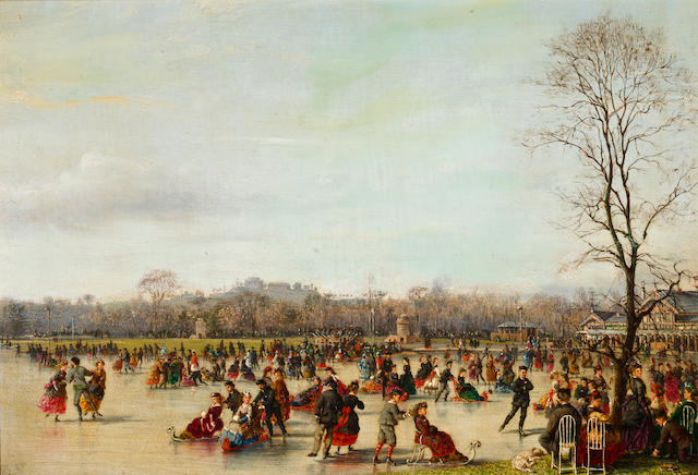 Conrad Wise Chapman (American, 1842-1910) Skaters in the Bois de Boulogne, 1863 8 1/8 x 11 1/8in