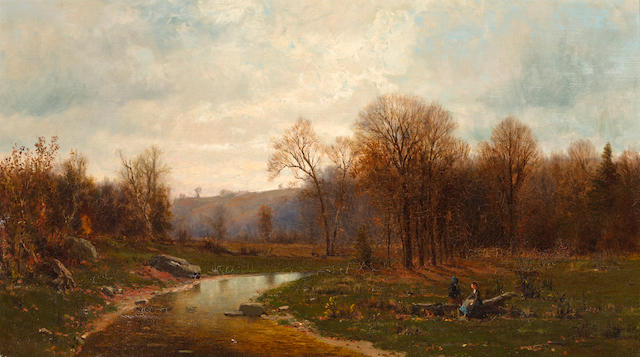 Jervis McEntee (American, 1828-1891) Figures by a river in an Autumnal landscape