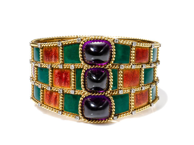 A guilloché enamel, amethyst and diamond bangle bracelet, Gübelin