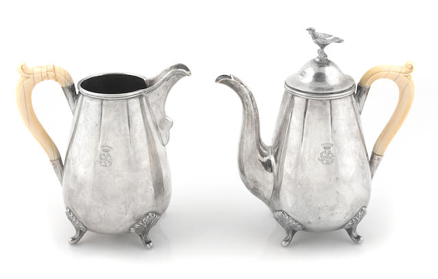An Austrian 800 standard silver and ivory coffee pot and water pitcher Karl Wilhelm Paltscho, Vienna, 1867-77
