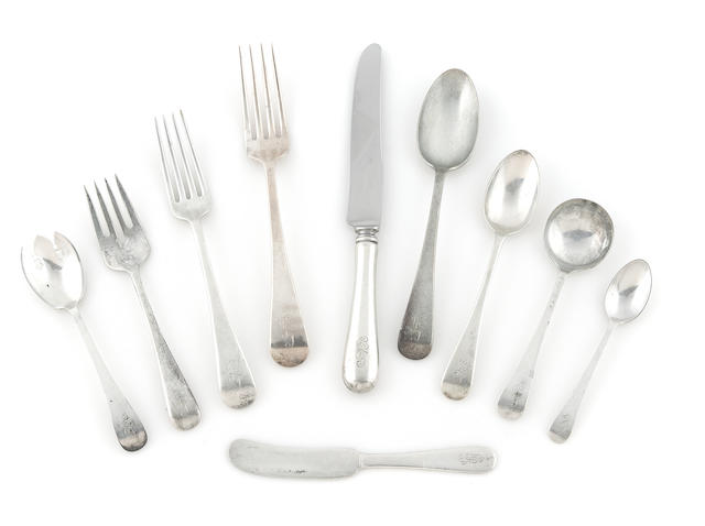 An assembled American sterling silver part flatware service for eighteen Dominick & Haff and Tuttle Silversmiths, early 20th century