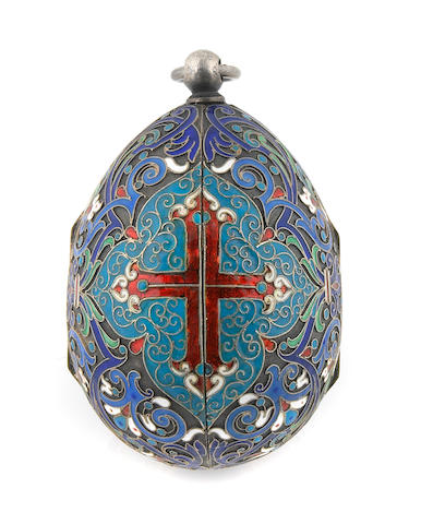 An enamelled silver egg-form box, bearing Russian hallmarks