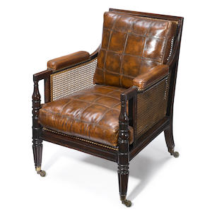 A Regency mahogany bergère . first quarter 19th century