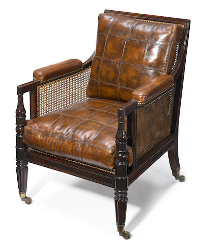 A Regency mahogany and cane bergère  first quarter 19th century