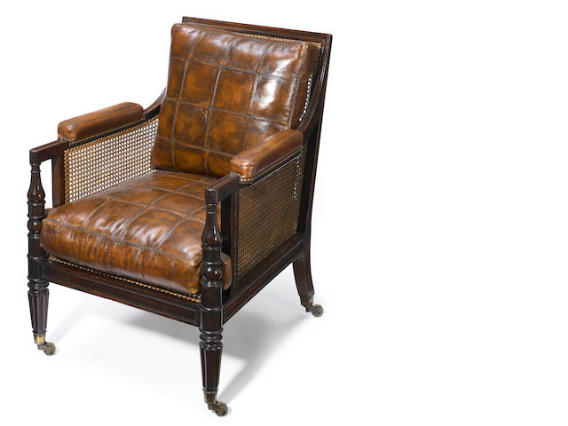 A Regency mahogany bergère <BR />first quarter 19th century