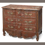A Louis XV paint decorated commode <BR />second half 18th century