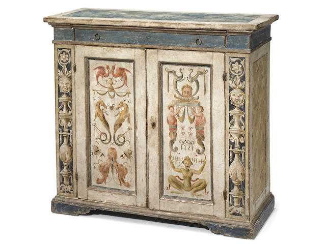 An Italian Baroque paint decorated side cupboard <BR />18th century
