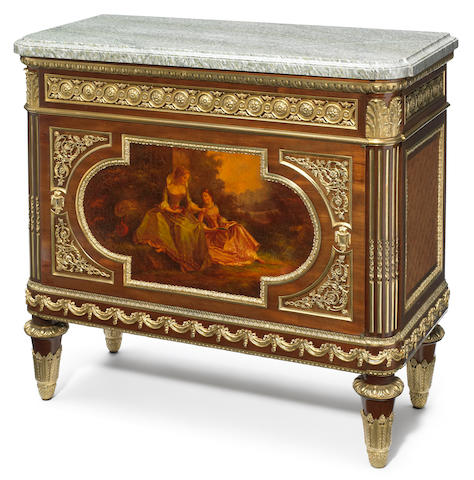 A Louis XVI style gilt bronze mounted Vernis Martin and mahogany mueble d' appui <BR />late 19th century