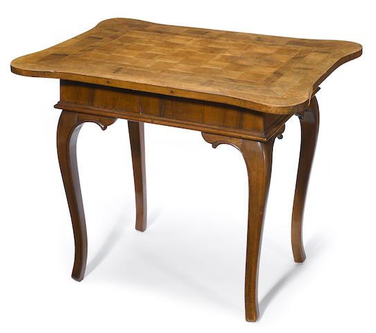 An Italian Rococo inlaid walnut center table <BR />second half 18th century