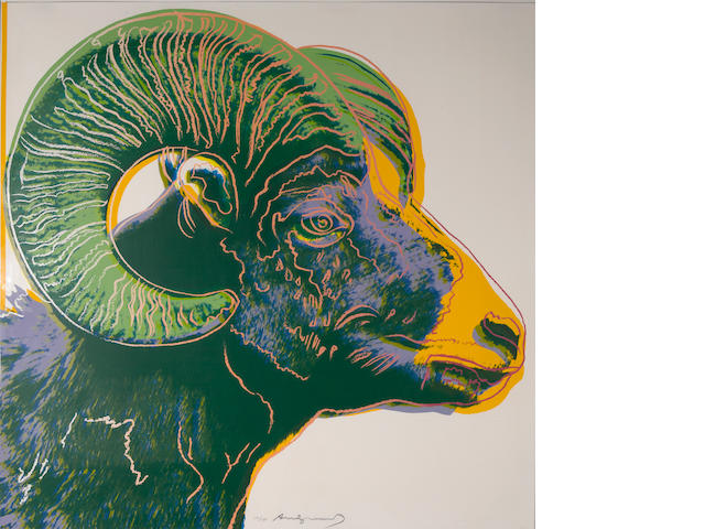 Andy Warhol (American, 1928-1987); Bighorn Ram, from Endangered Species;