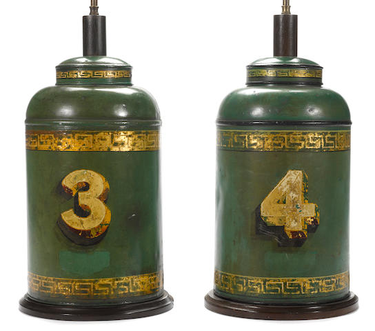 A pair of English green painted and parcel gilt tôle tea canisters, now as lamps <BR />second half 19th century