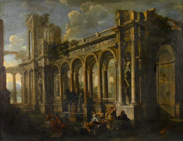 Attributed to Pietro Cappelli (Italian, ?-1724) An architectural capriccio with figures in the foreground 51 1/4 x 68in (130.2 x 172.7cm)