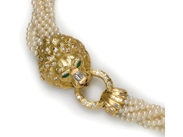 A cultured pearl, diamond and gem-set torsade necklace, Van Cleef & Arpels