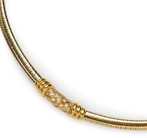 A diamond and eighteen karat bicolor gold necklace, Cartier, French