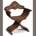 A Levantine bone/ivory inlaid chair of curule form