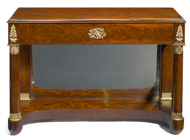 An Empire gilt bronze mounted mahogany console