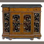 A William IV style wrought metal and mixed wood side cupboards